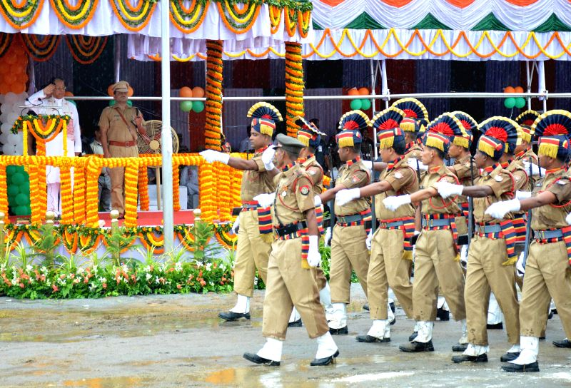 Security personnel during 68th Independence Day Parade at Veterinary Field in Guwahati on Aug 15, 2014.