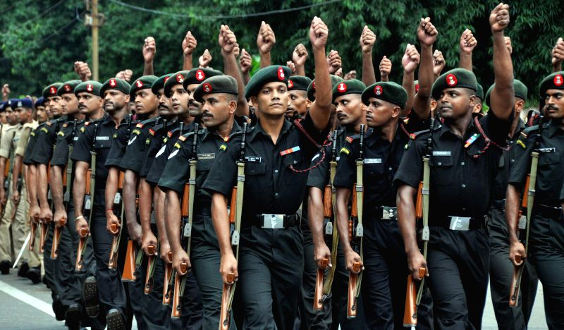 Security personnel rehearse for Independence Day Parade at Mahatma Gandhi Marg in Bhubaneswar on Aug 12, 2014. (Photo : Arabinda Mahapatra/IANS) - Gandhi Marg