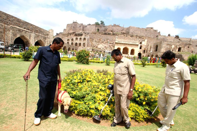 Security personnel sanitise Golkonda Fort ahead of Independence Day celebrations, some 11 km away from Hyderabad on Aug 12, 2014.