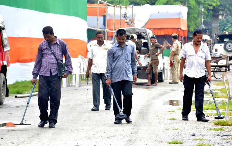 Security personnel sanitise parade ground at Khanapara , the venue of Independence Day celebration in Guwahati on Aug 13, 2014.