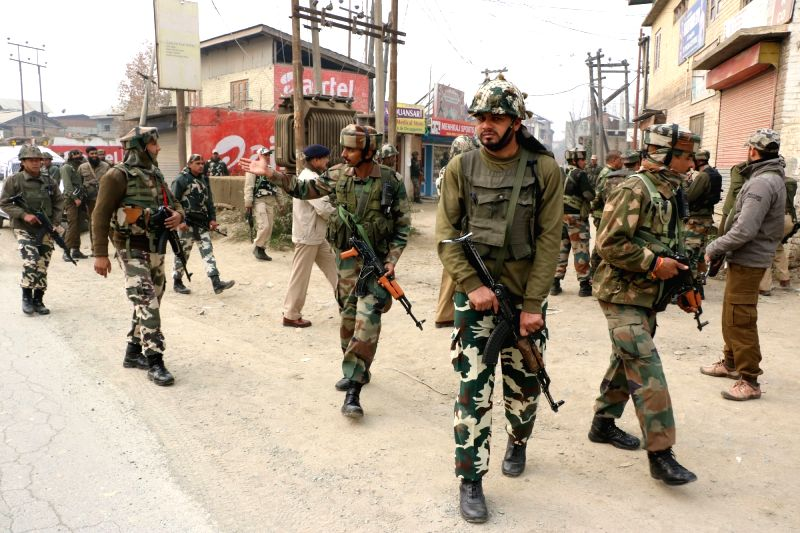 Security stepped-up in Pampore of Jammu and Kashmir after militants hurled a grenade at a patrol in which three troopers and two civilians were injured on Nov 19, 2015.
