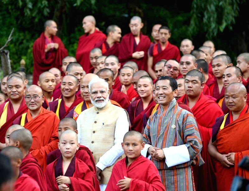 Semtokha:  Prime Minister Narendra Modi accompanied by Bhutan Prime Minister Lotay Tshering, meets monks at Simtokha Dzong Monastery in Semtokha, Bhutan on Aug 17, 2019. (Photo: IANS/PIB)