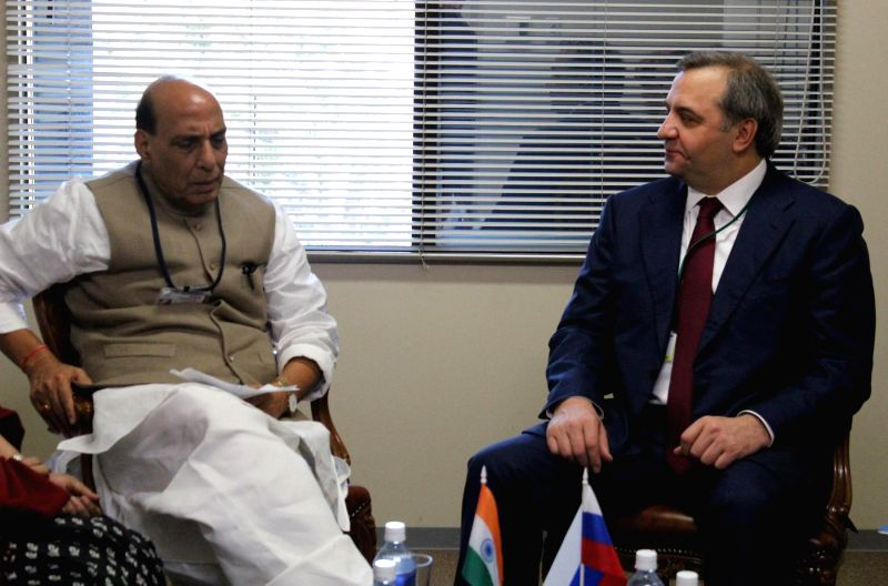 Sendai (Japan): Union Home Minister Rajnath Singh meets the Russian Minister for Civil Defence, Emergencies and Elimination of Consequences of Natural Disasters Puchkov Vladimir Andreyevich on the ...