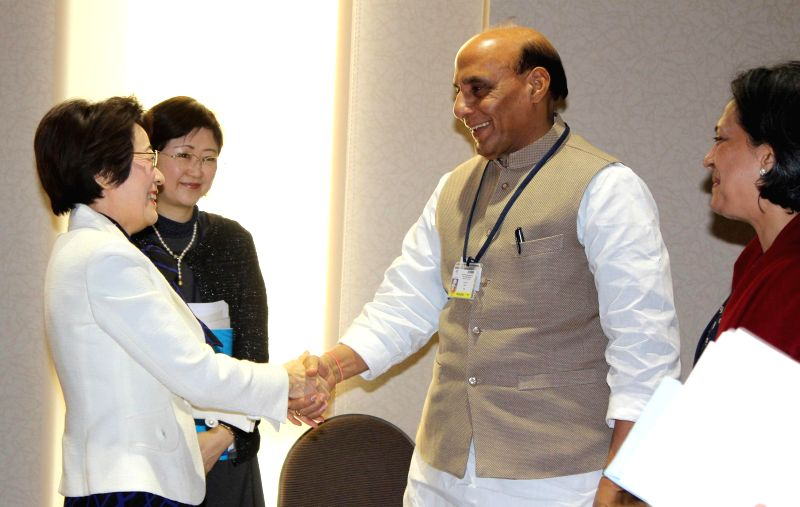 Sendai (Japan): Union Home Minister Rajnath Singh meets the Japanese Minister for Disaster Management Eriko Yamatani on the sidelines of 3rd UN World Conference on Disaster Risk Reduction, in Sendai, ...