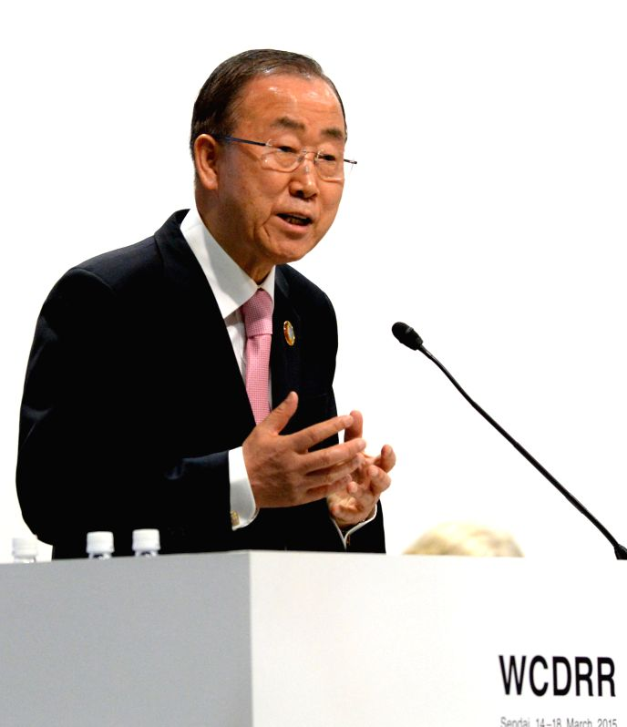 UN Secretary-General Ban Ki-moon delivers a speech at the Third UN World Conference on Disaster Risk Reduction in Sendai, Japan, on March 14, 2015. (Xinhua/Ma ...