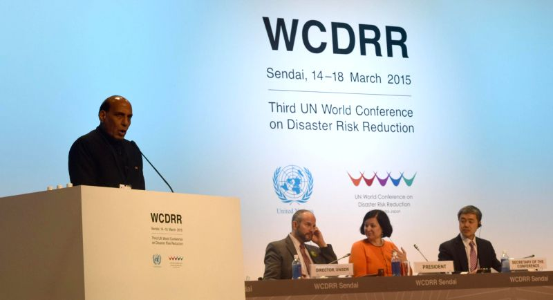 Union Home Minister Rajnath Singh addresses the 3rd UN World Conference on Disaster Risk Reduction, in Sendai, Japan on 14 March 2015.