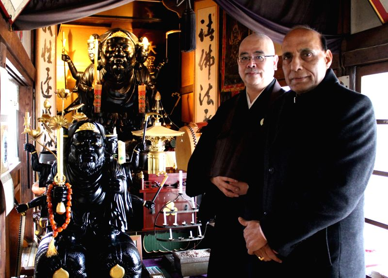 Union Home Minister Rajnath Singh at the Buddhist Temple, in Sendai, Japan on 14 March 2015.