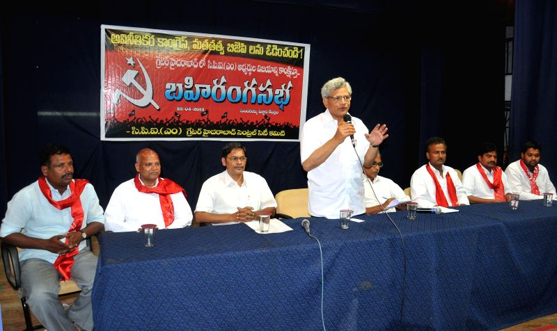 Senior Communist Party of India-Marxist (CPI-M) leader Sitaram Yechury addresses during a party meeting in Hyderabad on April 22, 2014. - Sitaram Yechury