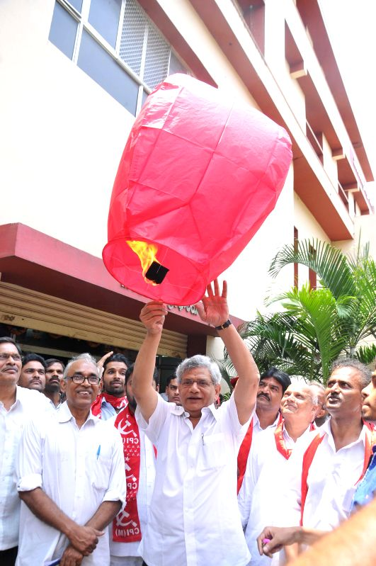 Senior Communist Party of India-Marxist (CPI-M) leader Sitaram Yechury during an election campaign in Hyderabad on April 22, 2014. - Sitaram Yechury