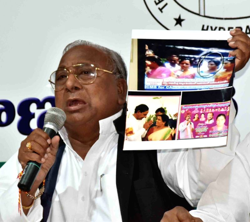 Senior Congress leader V Hanumantha Rao addresses a press conference in Hyderabad on May 16, 2017. - V Hanumantha Rao