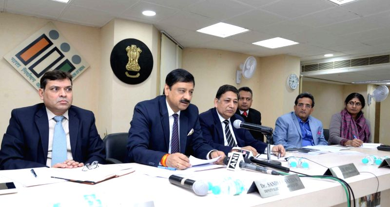 Senior Deputy Election Commissioner Umesh Sinha and Deputy Election Commissioner, Dr. Sandeep Saxena during a press conference to brief the details about polling held in Telangana and ...