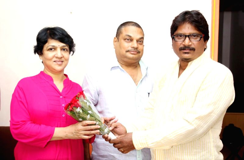 Senior Film Photo Journalist Varaprasad during the launch of a new website `Moviemanthra.com` in Hyderabad on July 12, 2014.