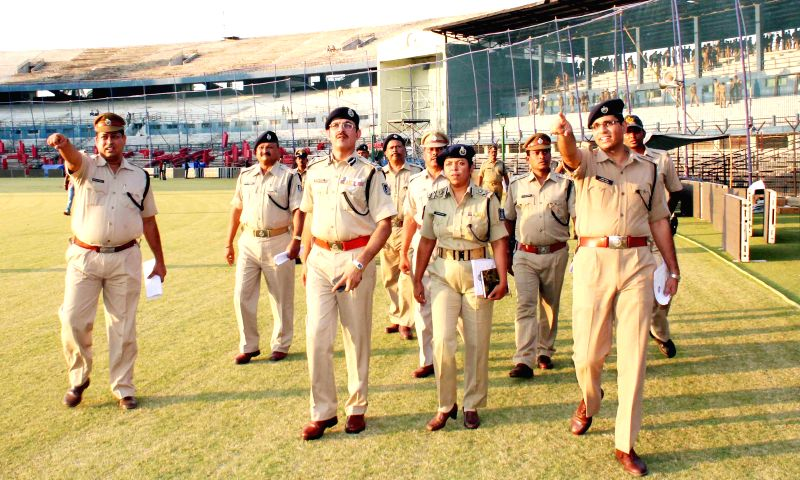 Senior police officials inspect security arrangements for IPL 2014 at Barabati Stadium in Cuttack on May 5, 2014. (Photo : Arabinda Mahapatra/IANS)