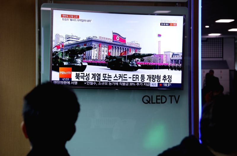 SEOUL, April 29, 2017 - People watch news about the failed missile test of the Democratic People's Republic of Korea (DPRK) at a train station in Seoul, South Korea, April 29, 2017. The Democratic ...