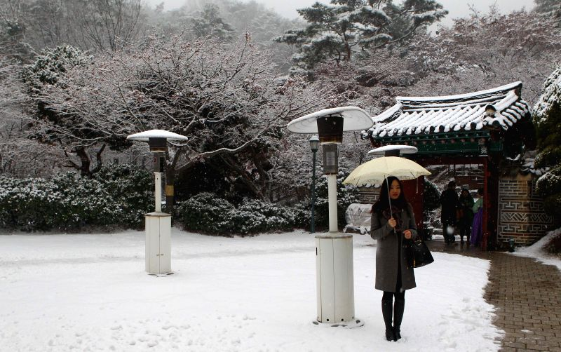 A tourist enjoys a snowfall in Seoul, South Korea, on Dec. 15, 2014. The snowfall started on the afternoon of Monday in Seoul and would last for several days, ...