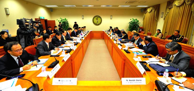External Affairs Minister Sushma Swaraj and Minister of Foreign Affairs of Republic of Korea Yun Byung-se at the Eighth Meeting of the India – Republic of Korea Joint Commission in Seoul, ...