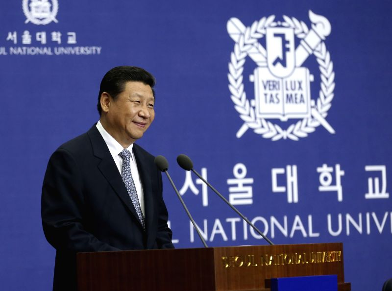 Chinese President Xi Jinping delivers a speech at Seoul National University in Seoul, capital of South Korea, July 4, 2014.