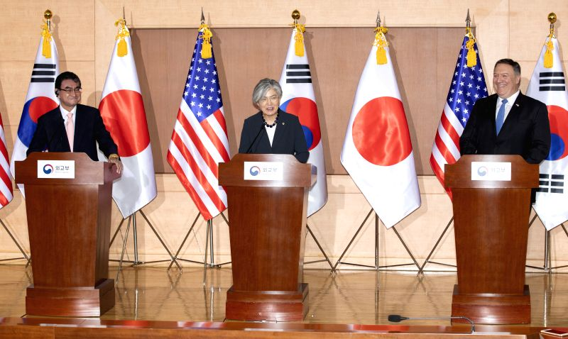 SEOUL, June 14, 2018 - Japanese Foreign Minister Taro Kono, South Korean Foreign Minister Kang Kyung-wha and U.S. Secretary of State Mike Pompeo (L-R) attend a press conference after their meeting in ... - Taro Kono