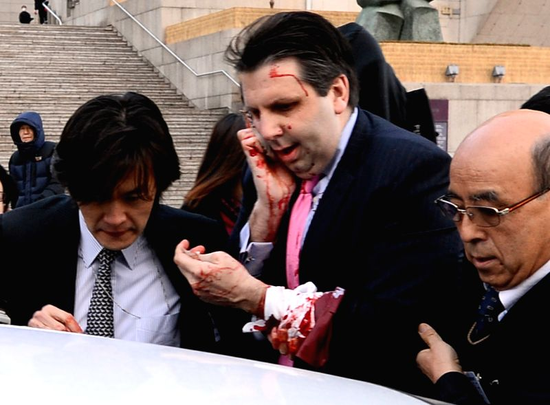 U.S. Ambassador to South Korea Mark Lippert is injured by a blade-wielding attacker in Seoul, South Korea, March 5, 2015.