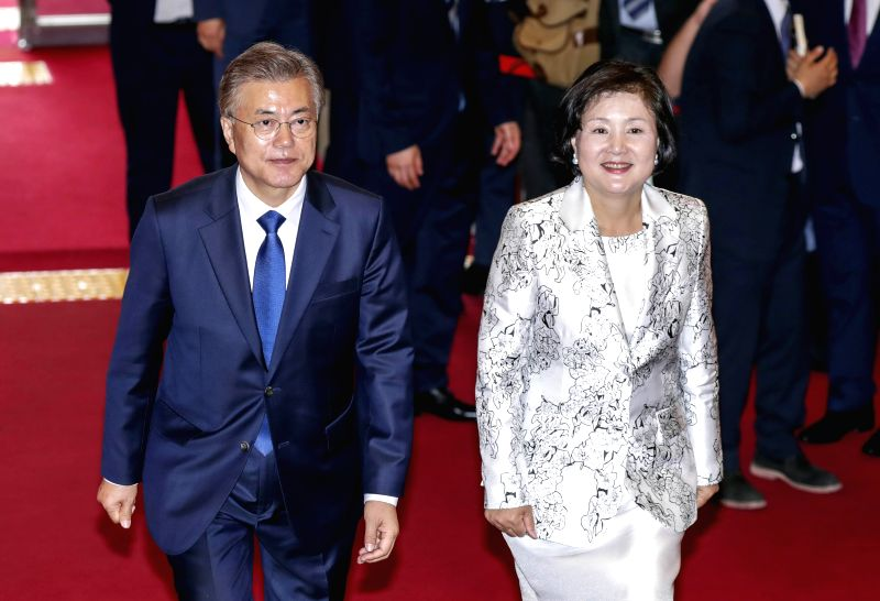 SEOUL, May 10, 2017 - Moon Jae-in and his wife Kim Jung-sook arrive to take part in the presidential inauguration ceremony in Seoul, capital of South Korea, on May 10, 2017. Moon Jae-in was sworn in ...