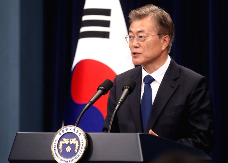 SEOUL, May 10, 2017 - New South Korean President Moon Jae-in addresses a press conference at the Blue House in Seoul, South Korea, May 10, 2017. Moon Jae-in was sworn in as new South Korean president ...