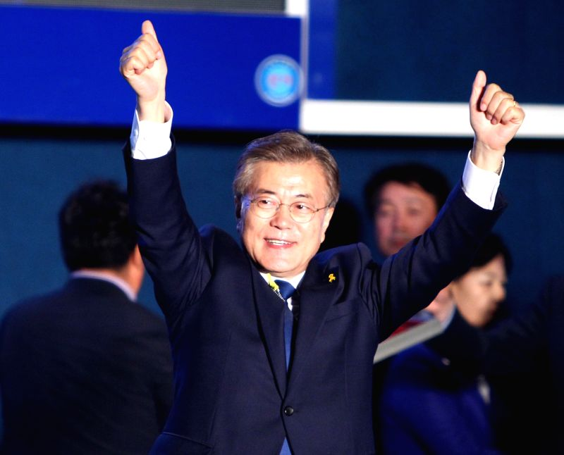 SEOUL, May 9, 2017 - Moon Jae-in of the liberal Minjoo Party waves during a celebration event in Seoul, South Korea, on May 9, 2017. Liberal candidate Moon Jae-in of the Minjoo Party said Tuesday ...