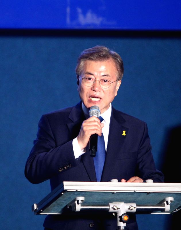 SEOUL, May 9, 2017 - Moon Jae-in of the liberal Minjoo Party speaks during a celebration event in Seoul, South Korea, on May 9, 2017. Liberal candidate Moon Jae-in of the Minjoo Party said Tuesday ...