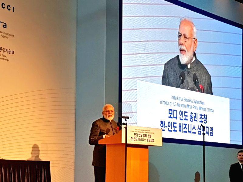 Seoul: Prime Minister Narendra addresses at the India-Korea Business Symposium, in Seoul, South Korea, on Feb 21, 2019. (Photo: IANS/MEA)