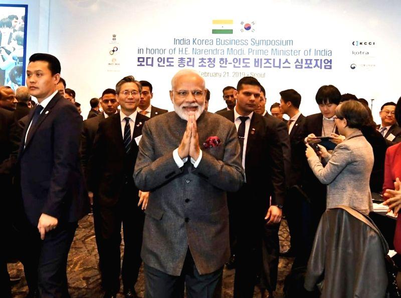 Seoul: Prime Minister Narendra at the India-Korea Business Symposium, in Seoul, South Korea, on Feb 21, 2019. (Photo: IANS/MEA)