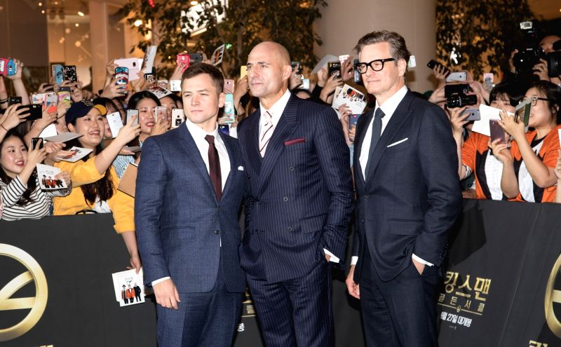 "SEOUL, Sept.20, 2017 - Actor Taron Egerton, Mark Strong and Colin Firth (L to R) attend the red carpet event of the movie ""KING'S MAN:THE GOLDEN CIRCLE"" in Seoul, South Korea, Sept. 20, ... - Taron Egerton"