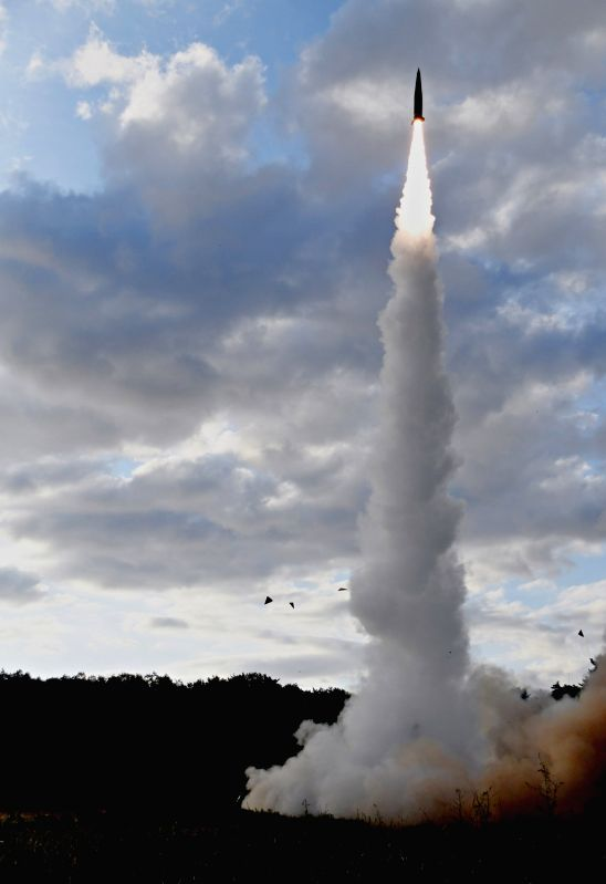 Seoul: South Korea's Hyunmoo-II missile is fired toward the East Sea on Sept. 15, 2017, in this photo from the Air Force, to show Seoul's combat readiness against Pyongyang's provocations. The North earlier in the day fired what appeared to be an int