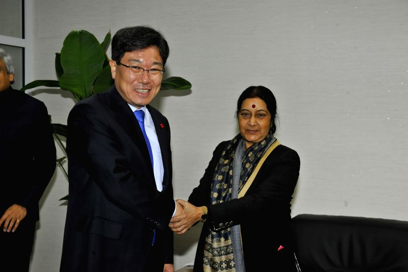 Union External Affairs Minister Sushma Swaraj meets Minister of Trade Industry and Energy of the Republic of Korea Yoon Sang-jick, in Seoul, South Korea on Dec 28, 2014.