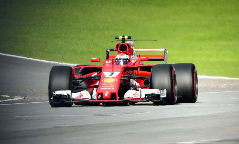 SEPANG, Sept. 30, 2017 - Ferrari's Kimi Raikkonen of Finland competes in the qualifying session at the Formula One Malaysia Grand Prix at the Sepang Circuit in Malaysia, on Sept. 30, 2017.