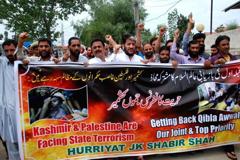Separatist leader Shabir Ahmad Shah during a demonstration against Israeli attack on Gaza in Srinagar on July 25, 2014.