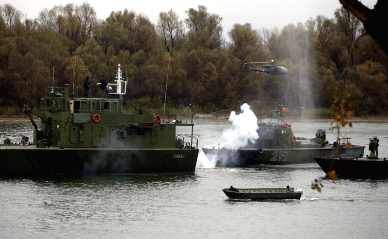 Serbian Security Servicemen take part in a joint exercise in Belgrade, Serbia, Nov. 21, 2015. Serbian Security Services on Saturday demonstrated their capability ...