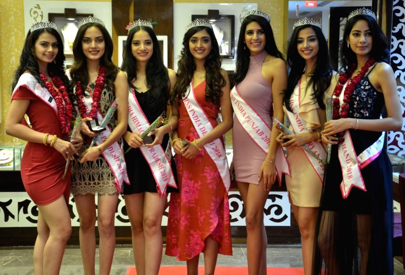 Seven of the eight finalists of Femina Miss India North 2018 during the inauguration of a fashion jewellery store, in Gurugram on April 13, 2018.