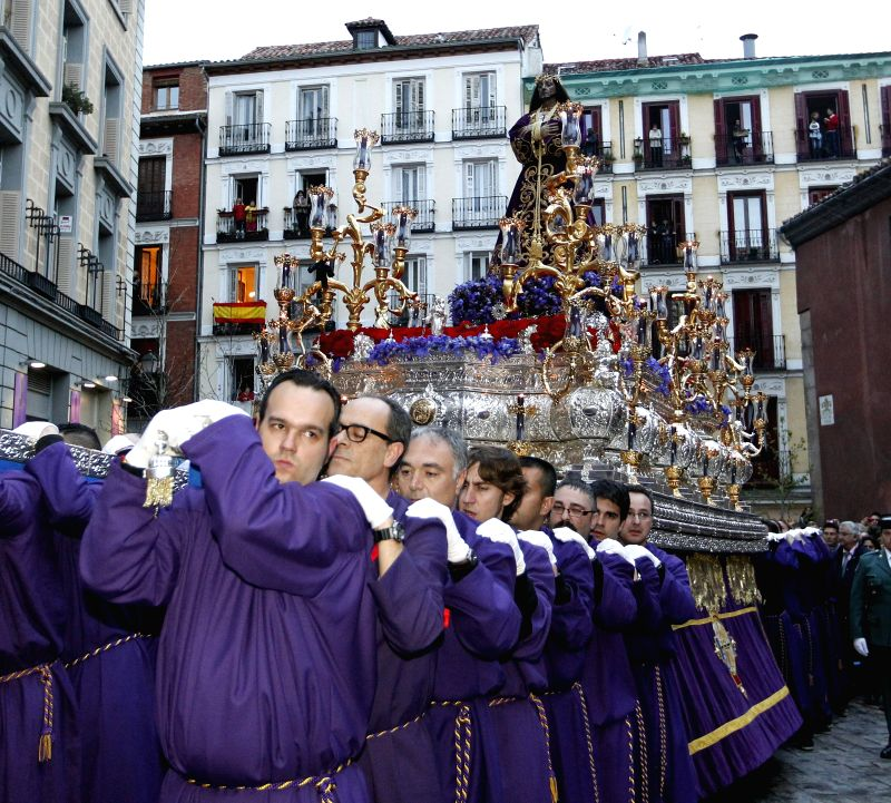 Penitents of 'Nuestro Padre Jesus Nazareno' brotherhood take part in the Saint Thursday's procession held in Madrid, Spain on 05 March 2012. Spain celebrations for Semana Santa (Holy Week) ...