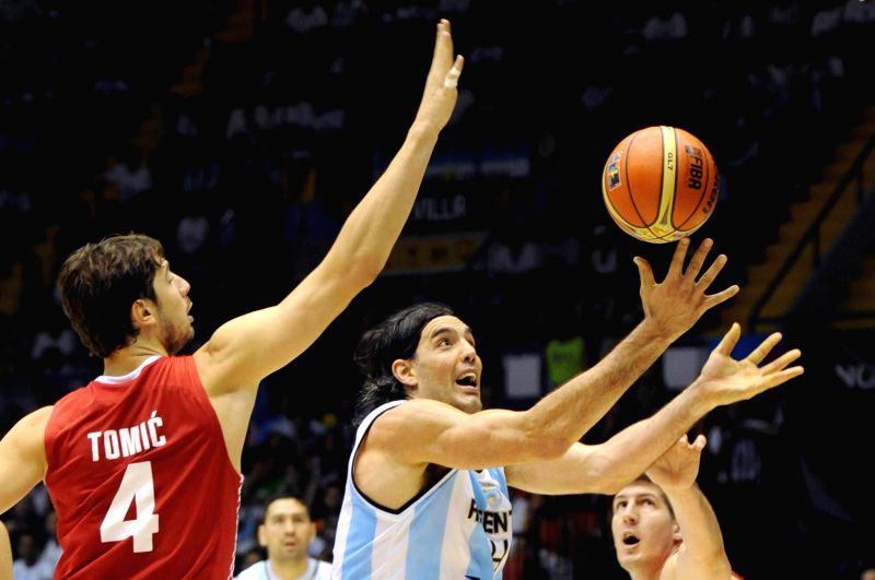Luis Scola (C) of Argentina competes during the Group B match against Croatia at the 2014 FIBA Basketball World Cup, in Seville, Spain, on Aug. 31, 2014. Argentina .