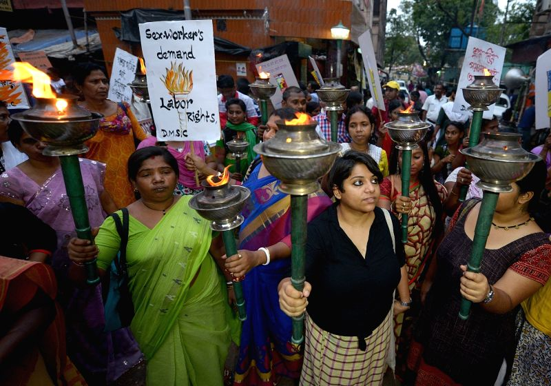Sex workers participate in a rally organised on International Workers' Day organised by Durbar Mahila Samanwaya Committee in Kolkata, on May 1, 2017.
