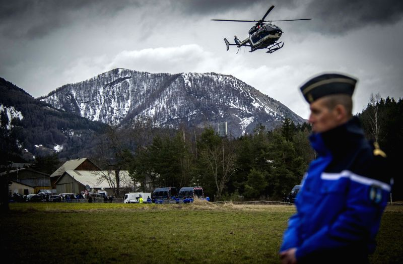 A rescue helicopter sets off to the crash site of Germanwings Airbus A320 plane in the Alps in southern France, March 25, 2015. French gendarmes late Tuesday found ...