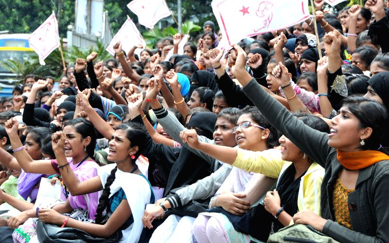 SFI activists demonstrate against alleged rape of a six-year-old student in Bangalore on July 21, 2014.