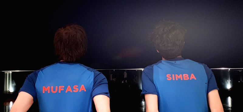"""Shah Rukh took to Twitter to share a photograph of him and his son sporting blue cricket jerseys with their backs towards the camera. The """"Chennai Express"""" star's jersey read """"Mufasa"""" and Aryan's read """"Simba""""."""
