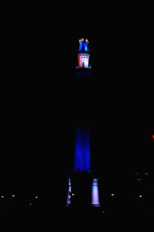 Shaheed Minar illuminated in the colours of the French flag to show solidarity with the victims of 13/11 Paris blasts in Kolkata, on Nov 20, 2015.