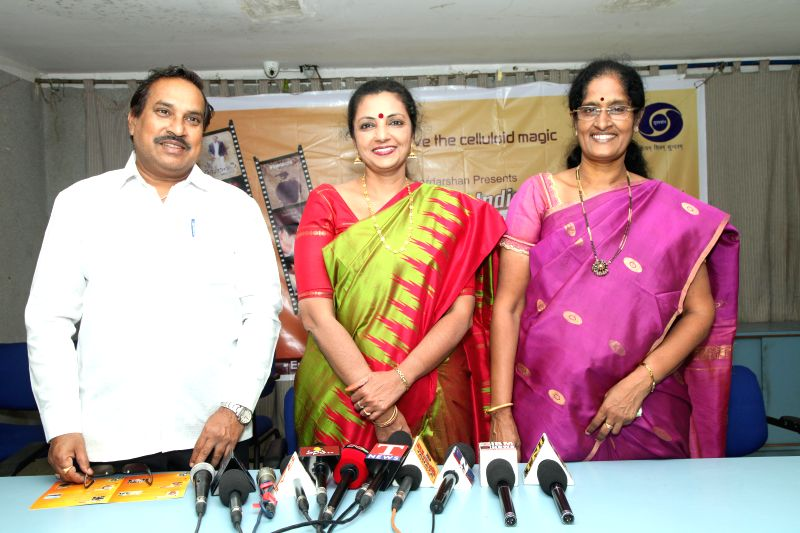 Shailaja Suman, Deputy Director General of Doordarshan Kendra, Yarlagadda Shailaja, Deputy Director, Doordarshan and Sundar Sai, Programme Executive, during a press meet. Doordarshan is organizing ...