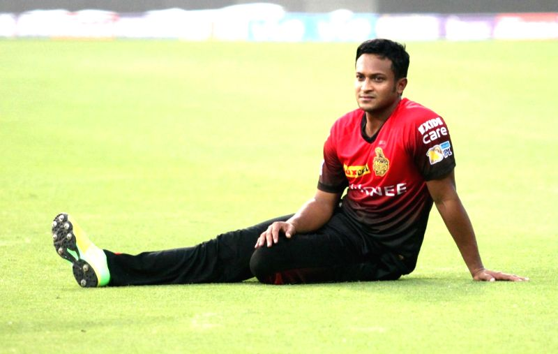 Shakib Al Hasan of Kolkata Knight Riders during a practice session at the Eden Gardens in Kolkata, on April 14, 2017.