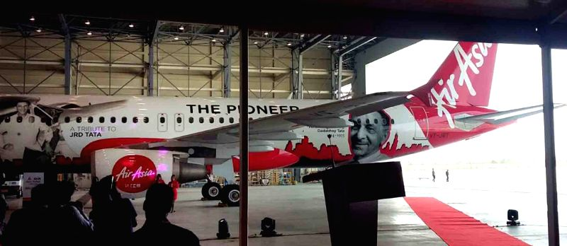 AirAsia India unveils its fourth aircraft with a livery dedicated to JRD Tata as a mark of respect to the pioneer of civil aviation at GMR Aero Technic MRO Hanger, Rajiv Gandhi ...