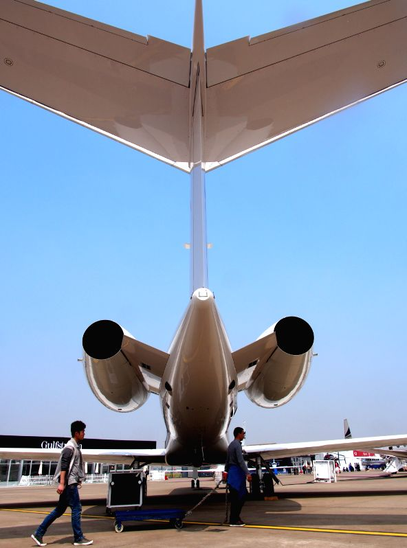 An airplane is seen at Hongqiao Airport prior to the Asian Business Aviation Conference and Exhibition (ABACE) in Shanghai, east China, April 14, 2014. A total of