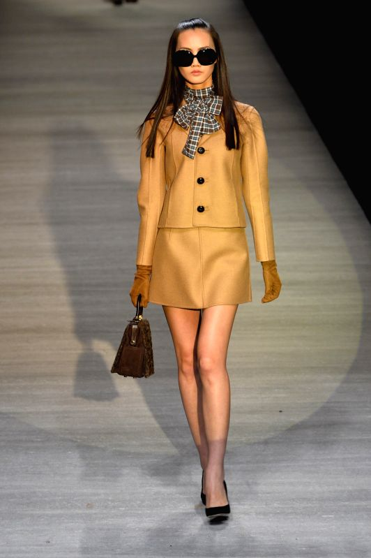 A model presents a creation of the Italian brand Dsquared2 during the Shanghai Fashion Week in Shanghai, east China, April 17, 2014.