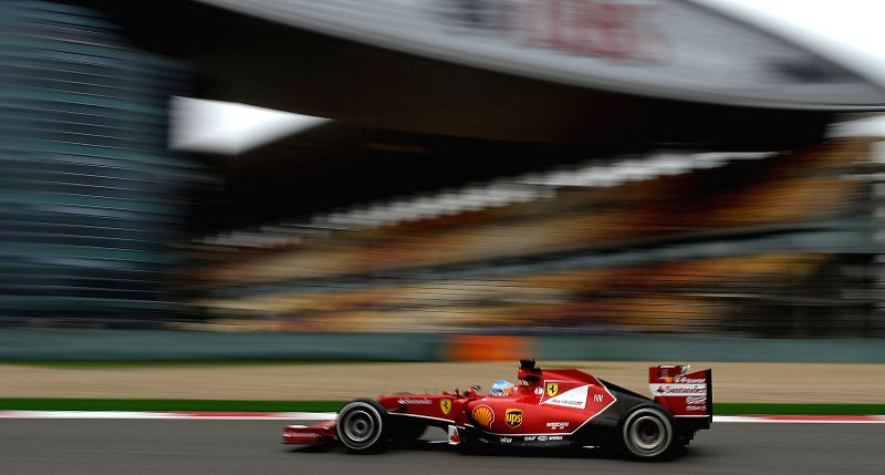 Ferrari driver Fernando Alonso of Spain competes during a practice session of the Formula One Chinese Grand Prix in Shanghai, China, on April 18, 2014.