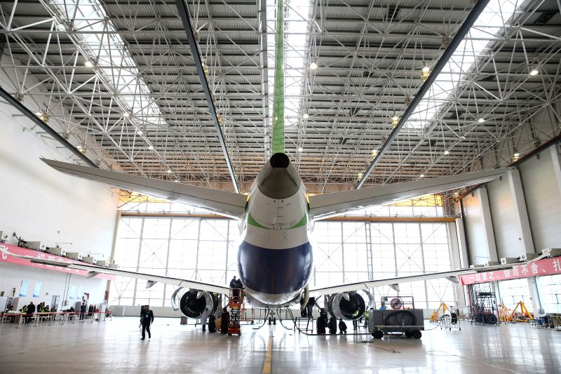 SHANGHAI, April 18, 2017 - Photo taken on April 11, 2017 shows a C919, the first large passenger aircraft designed and built by China, in a hangar in Shanghai, east China. The C919 passed the last ...